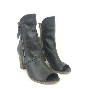 Matisse Black Leon Leather Peep-Toe Bootie